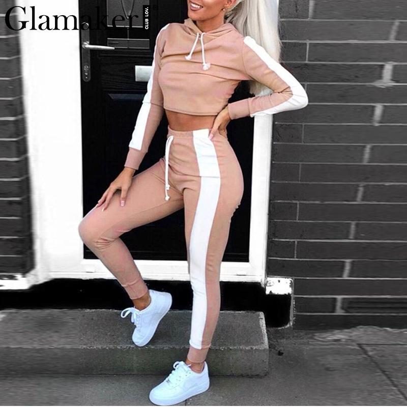 Glamaker Blush stripe casual long jumpsuit Women two piece tuta crop hoodies party jumpsuit Salopette a maniche Holiday