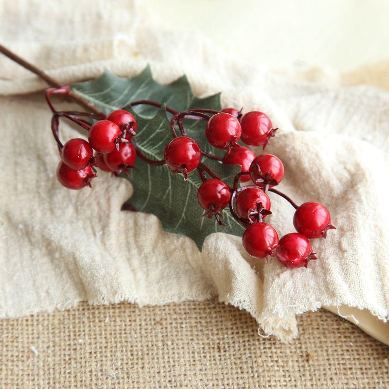 Sztuczny kwiat Boże Narodzenie jagody fasola pasta fasola do ślubu DIY Boże Narodzenie Jedwabny Kwiat Home Decoration Fake Flower Supplies