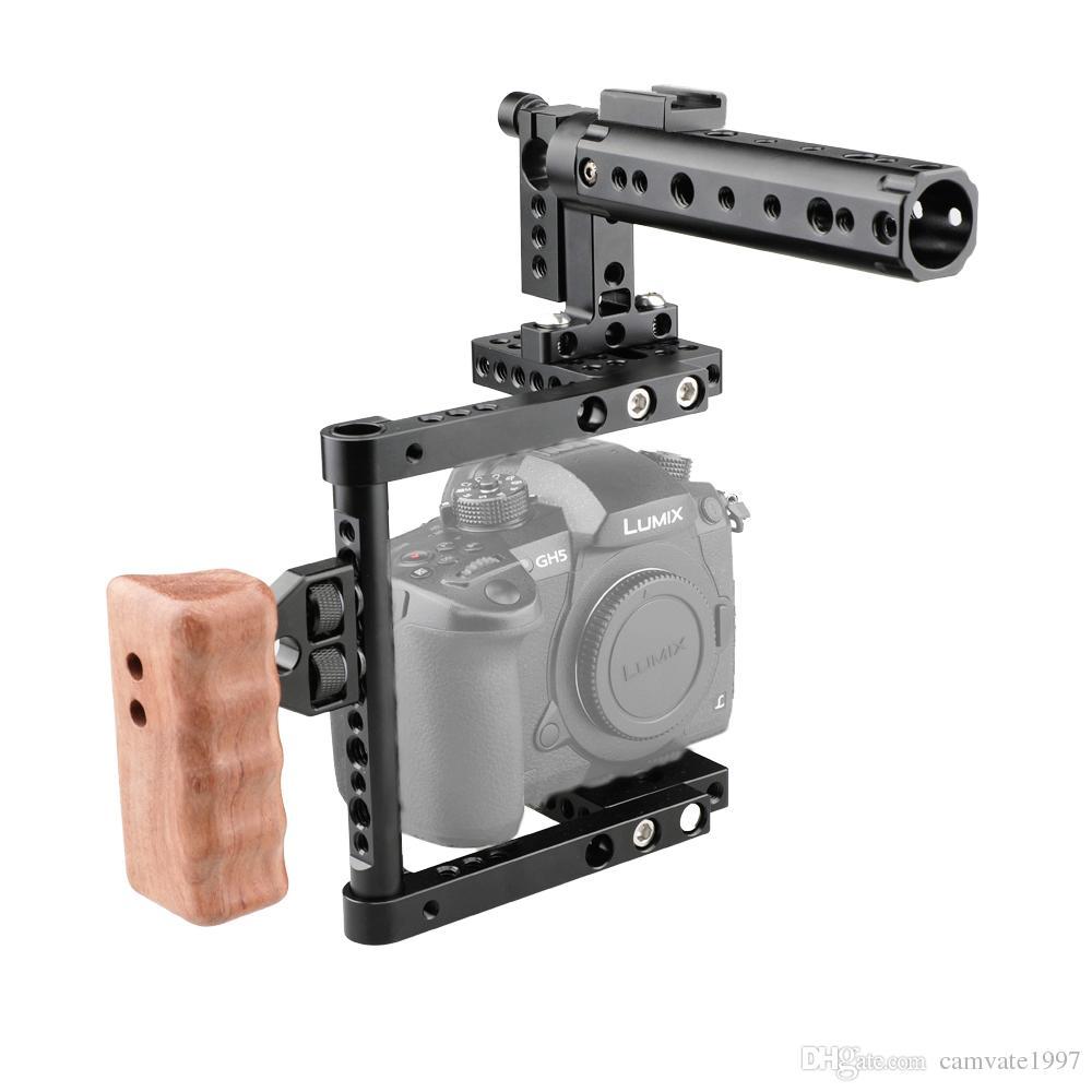 CAMVATE DSLR Camera Cage Top Handle Wood Grip for Canon 600D 70D 80D