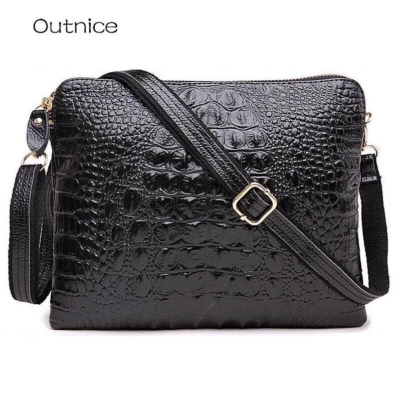 wholesale Crossbody Bag for Women Genuine Leather Crocodile Pattern Clutch Messenger Shoulder Purse Girls Casual Pack Black Sale