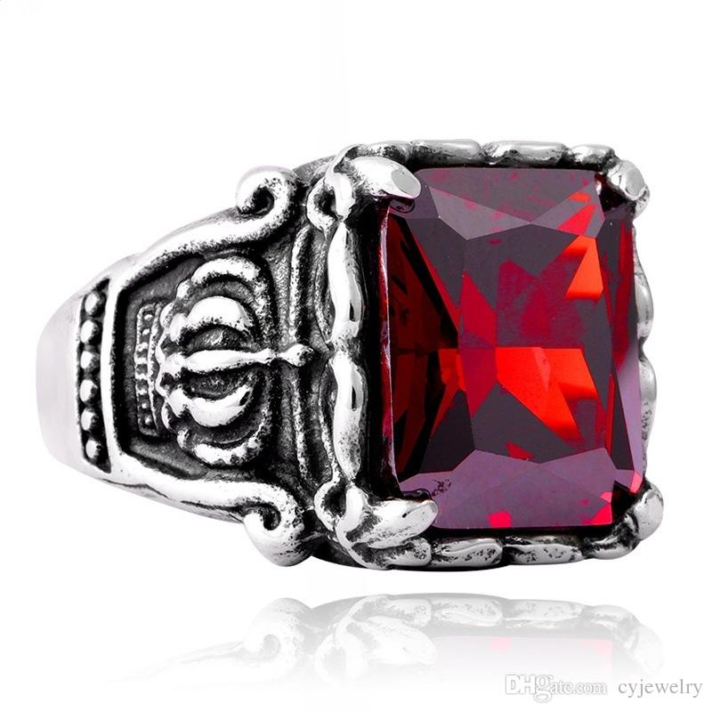 Mens Square Cut Ruby Gothic Crown Rings Vintage Style High Quality