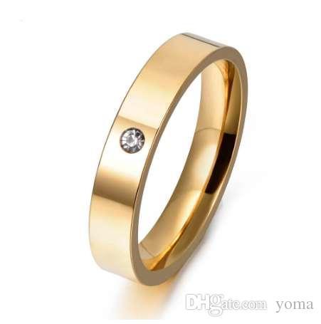 Jemango ماركة فاخرة واحدة تشيكوسلوفاكيا حجر الراين البنصر الذهب اللون 316l الفولاذ الصلب الإناث خاتم الخطوبة مجوهرات R17153