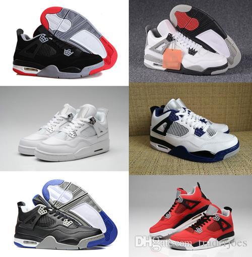 Ateş Kırmızı Boots Bred Erkekler 4S Beyaz Çimento Motorsport Saf Para 2018 Traderjoes ile Kutusu Erkek ve Bayan Basketbol Ayakkabıları Spor ayakkabılar