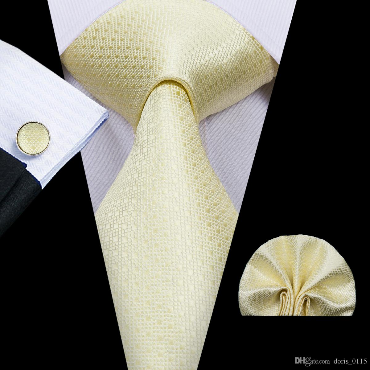 Mens Tie Pocket Square Cufflinks Mens gold solid color tie set 8.5cm Width Meeting Business Casual Party Necktie Jacquard Woven N-3033