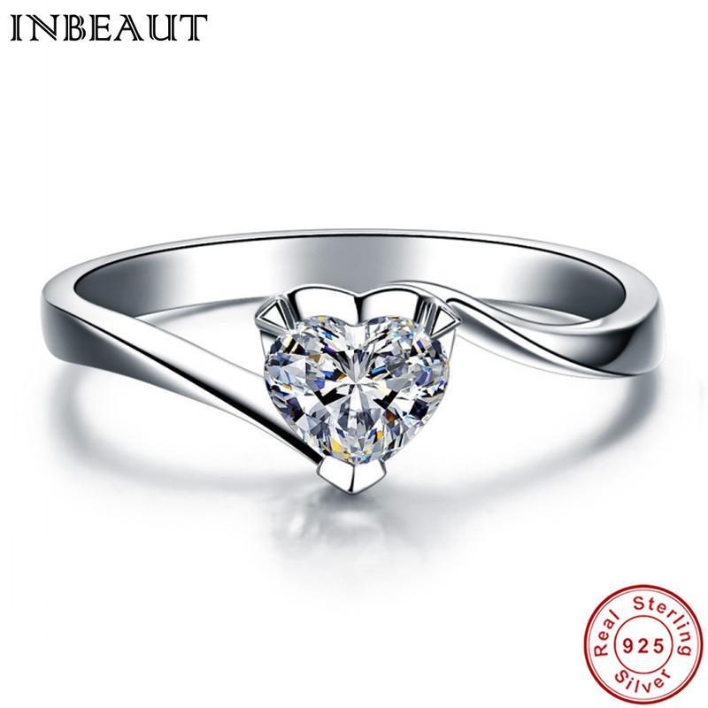 INBEAUT Kadın Moda 925 Ayar Gümüş AŞK Kalp Nişan Kübik Zirkon Yüzük Kadın Romantik Parmak Düğün Takı S18101608