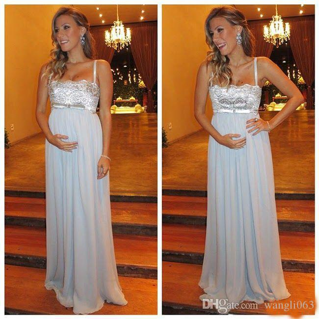 Sexy Maternity Evening Dresses Spaghetti Chiffon Beaded Lace Custom Made Formal Party Gowns For Pregnant Women Prom Dress