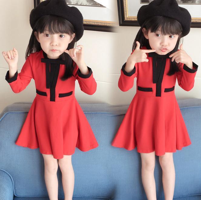 Vestidos de las niñas vestido de costura elegante vestidos para niños para el vestido de la princesa roja niñas ropa de los niños la ropa del otoño