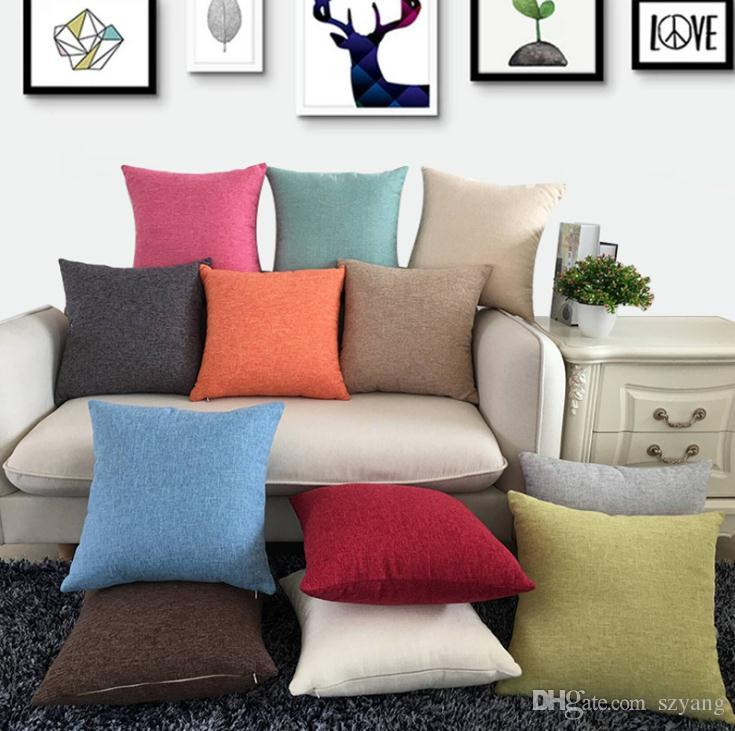 Tinta unita Cotone Lino Square Design Tiro Cuscino Caso Cuscino Decor Pillow Case Blank Decor regalo di Natale SN1992