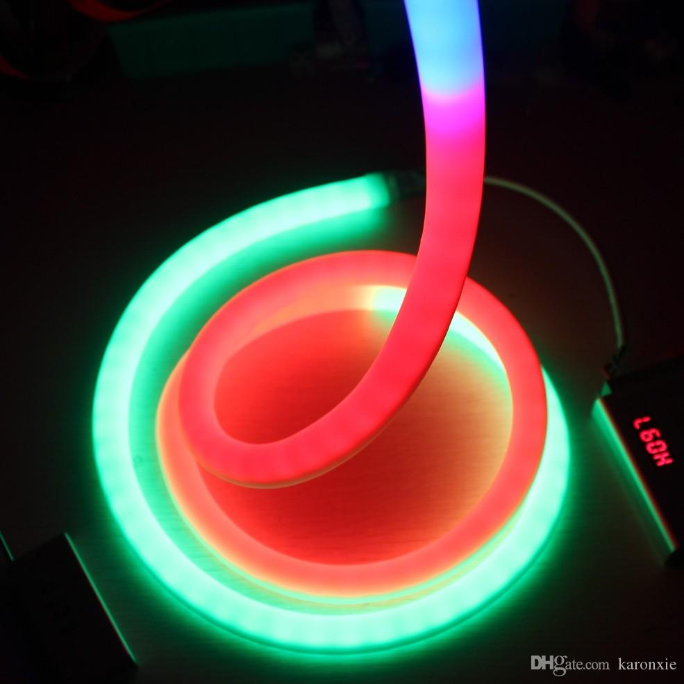 50 м катушка 24 в 360 градусов 18 мм круглый пиксель led Neon гибкий открытый p943 digital neon lights RGB чеканка мягкой трубки