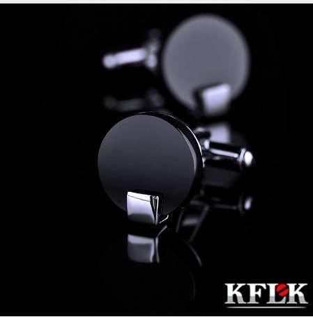 KFLK Takı gömlek kol düğmesi mens Marka Siyah Manşet bağlantı Toptan Düğme Yüksek Kalite Yuvarlak Lüks Düğün Erkek Ücretsiz Kargo