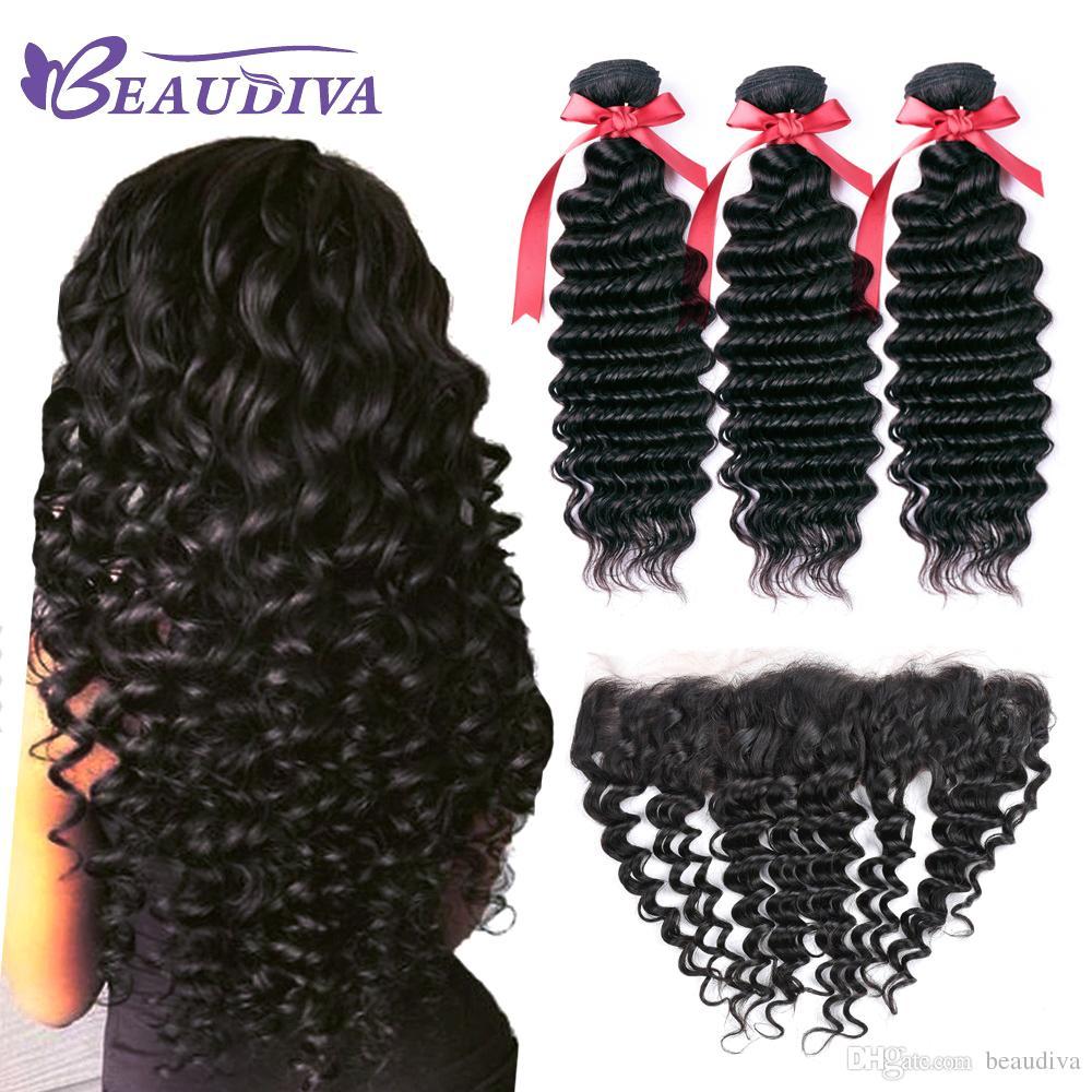 Beau Diva Deep Wave Bundles con capelli umani brasiliani anteriori 3 pacchi con chiusura 13x4 pizzo frontale 9A capelli umani morbidi e sani