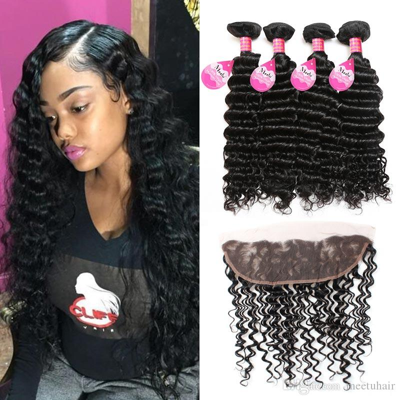 8A Grade Brazilian Virgin Deep Wave 4 Bundles with Lace Frontal Ear to Ear 13X4 Lace Frontal with Human Hair Weaves 5pcs/Lot