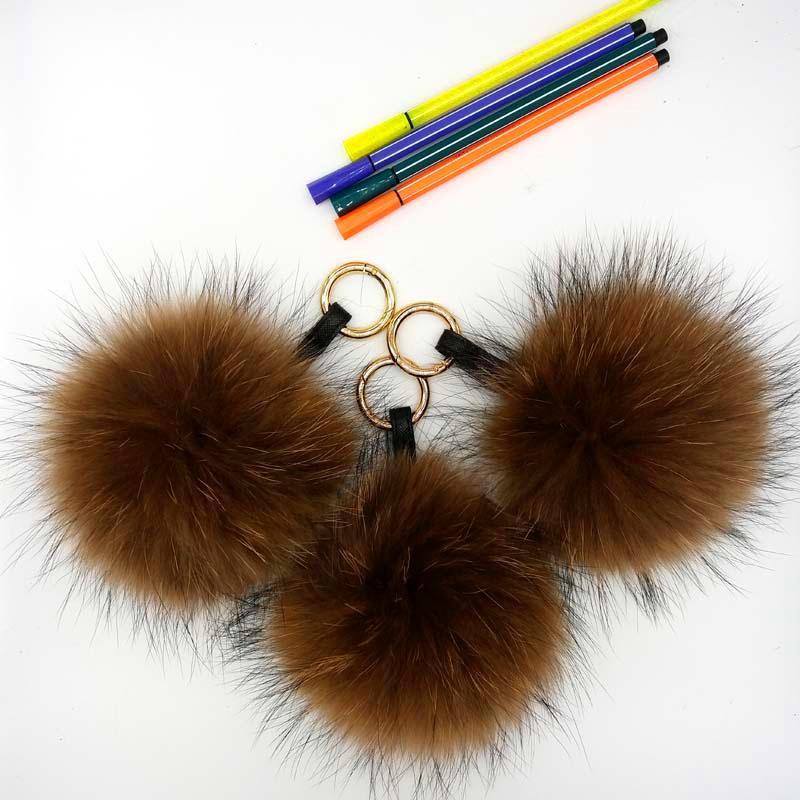 Ms.MinShu Pelliccia di procione Pompon per cappello Vera palla di pelo Natural Fox Hair Pompons Portachiavi Pelliccia di volpe Charm Pendente per borsa