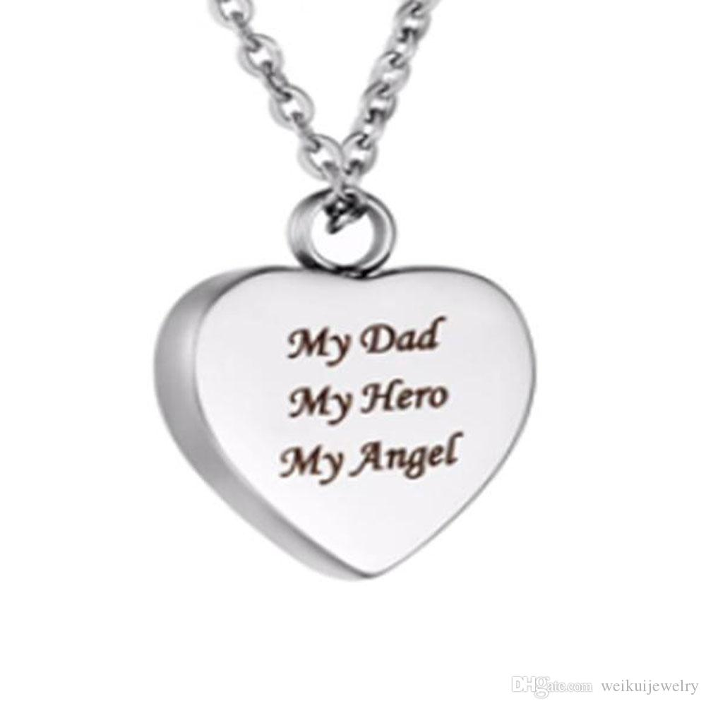 Wholesale funeral and funeral jewelry engraved text my hero shaped stone box pendant cremation stainless steel souvenir necklace