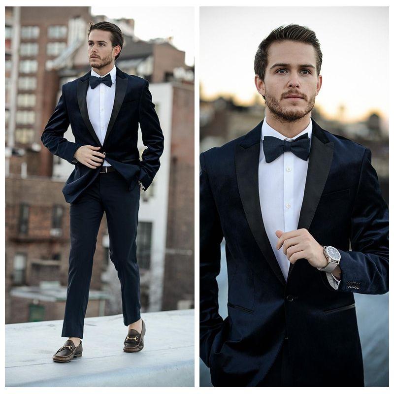 Elegant Black Two Piece Groom Wedding Tuxedos Custom Best Fitted ...