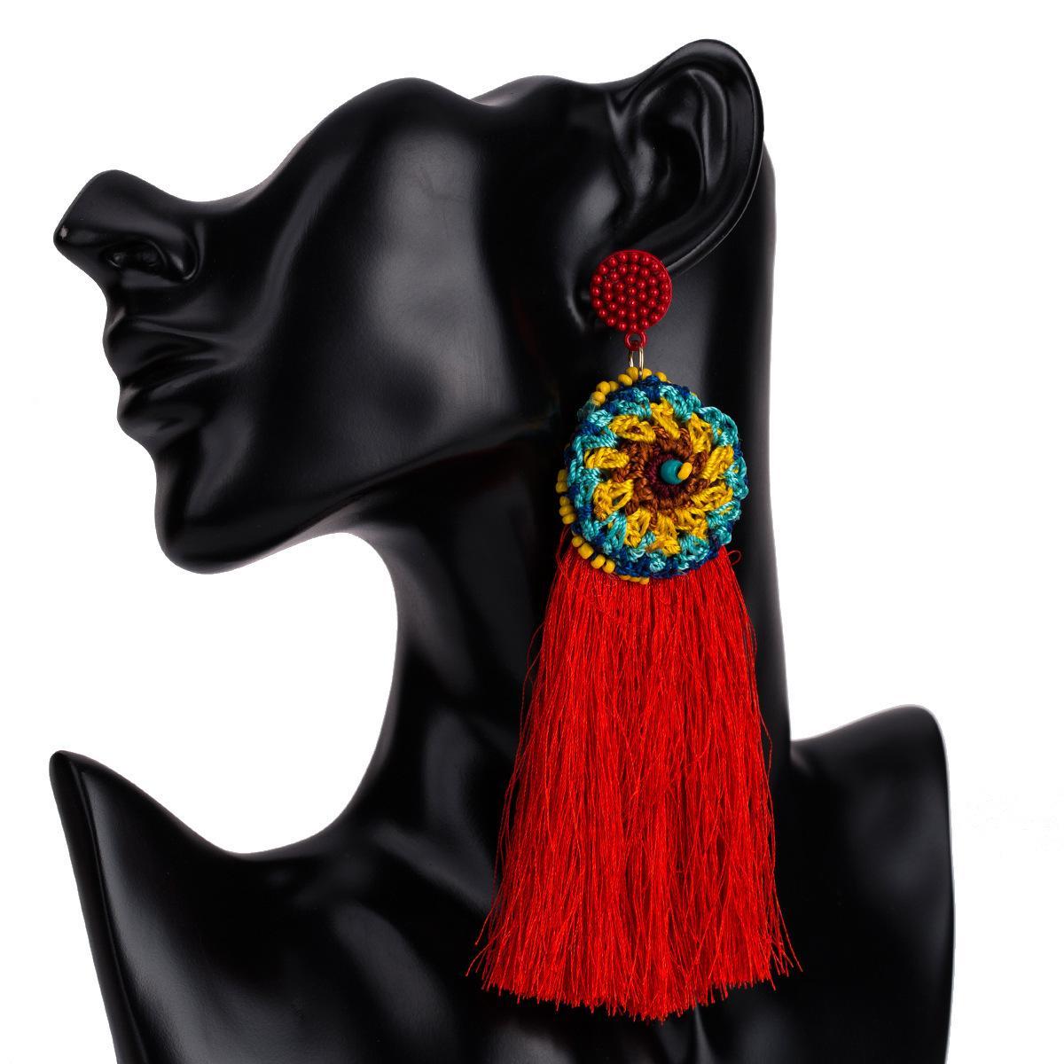 7 Cores de Design Da Marca Bohemian Tassel Brincos Para As Mulheres-Longas Borlas Declaração Brincos-Moda Big Dangle Brinco Jóias Boho