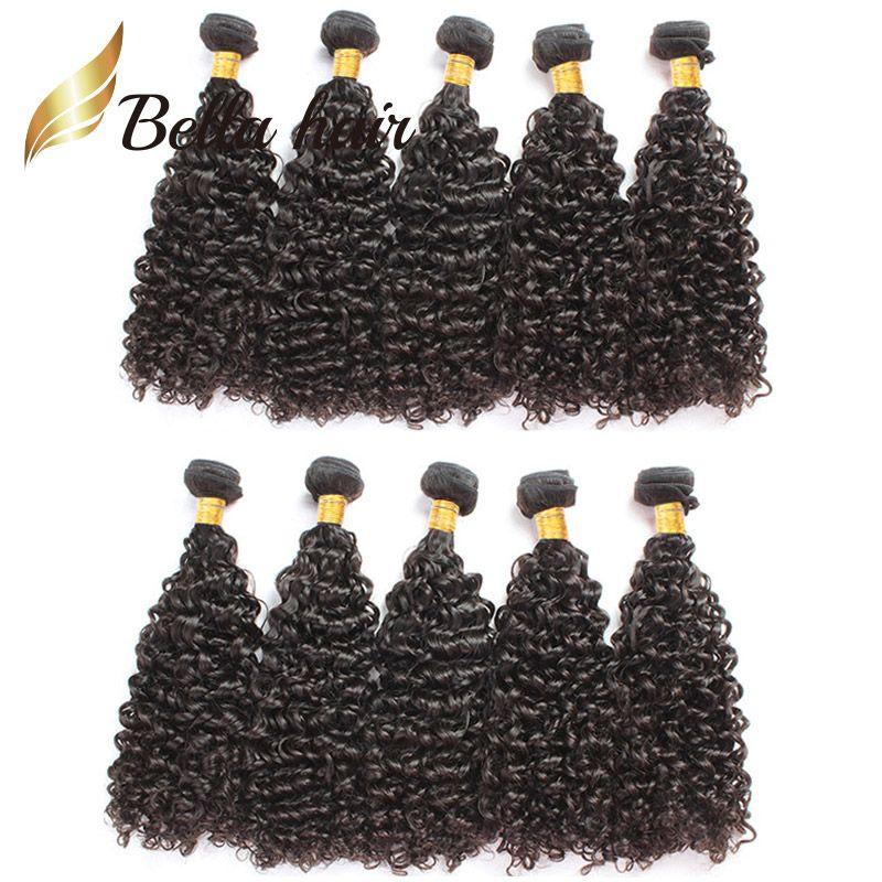 Bella Hair®Wholesale Grade 9a Brasilianska Human Hair Extensions 10st / Lot Curly Hair Buntlar Naturfärg Färg Hårväft Gratis Frakt Julienchina