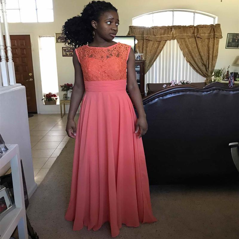 Dantel Şifon Genç Gelinlik Modelleri Mercan Çocuklar Parti Elbiseler Kat Uzunluk Çiçek Kız Elbise Fermuar Geri