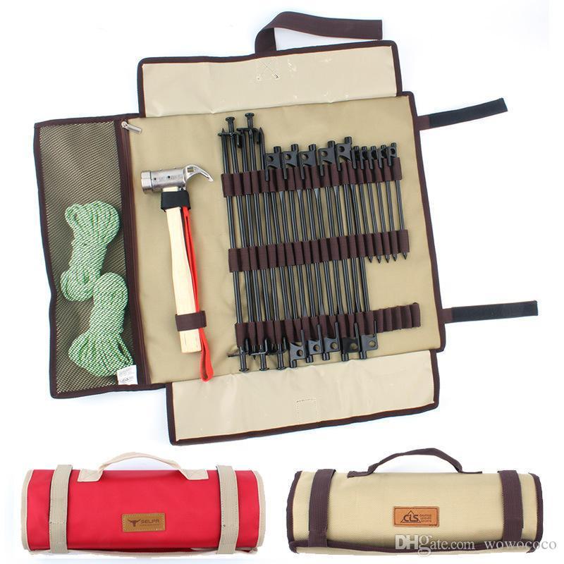 Al aire libre tienda de campaña clavijas bolsa de almacenamiento portátil kit de herramientas accesorios plegables bolsa de transporte X138