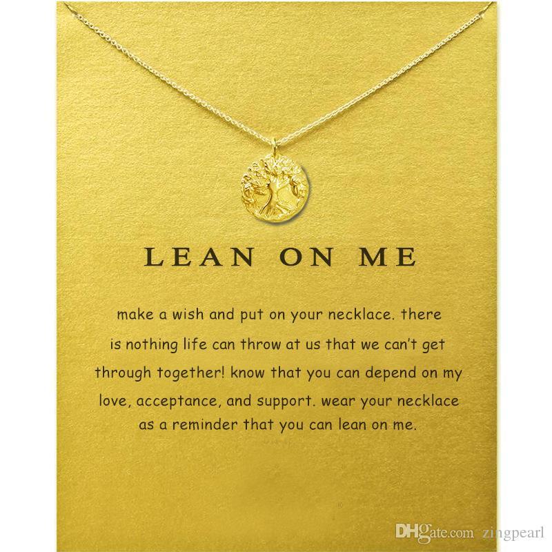 Dogeared Gerdanlık Kolye Ile Kart Altın Gümüş Hayat Ağacı Kolye Kolye Moda kadınlar Takı Için LEAN ON