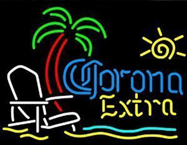 "Corona Extra Beach Chair Palm Tree Handcrafted Neon Light Sign Display Advertisement Real Glass Tube Club Hotel Motel Neon Signs 19""X15"""