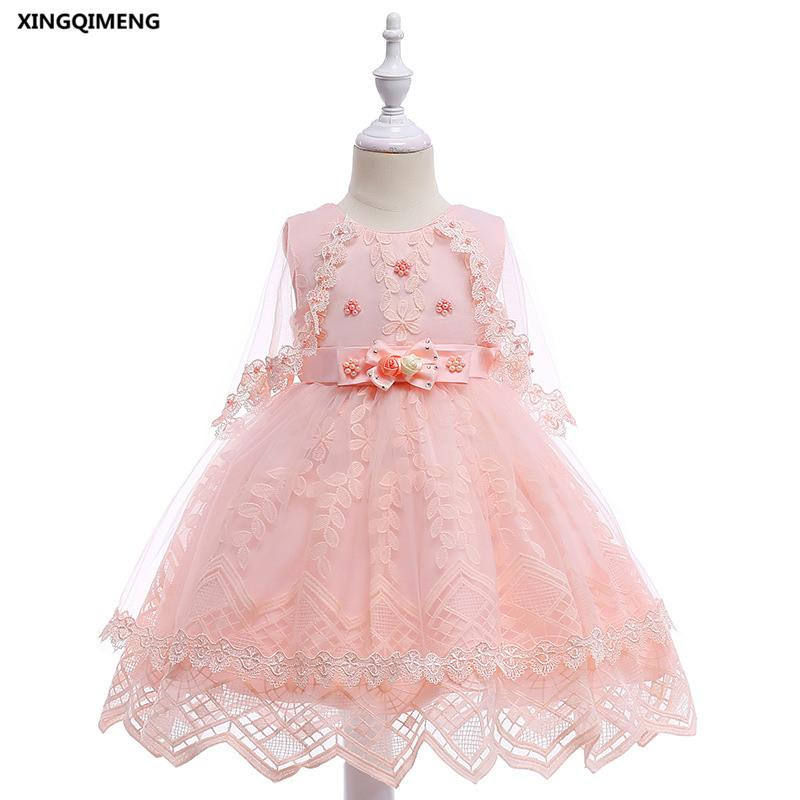 In Stock Fancy Pink Beaded Flower Girl Dresses for Weddings 3-10Y Bow Formal Dress for Girls Elegant Pageant Tulle Ball Gown