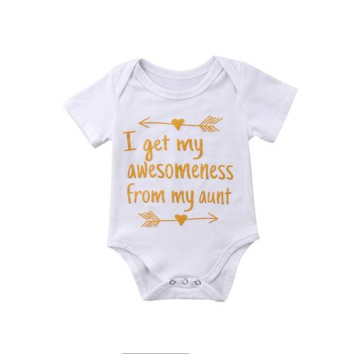 f00f62b28c87a 2018 New Summer Infant Baby Boys Girls Stylish Bodysuit Letter Print Aunt  Cotton Jumpsuit Clothes Short Sleeve White Bodysuit 0 18 M From Sophine13,  ...