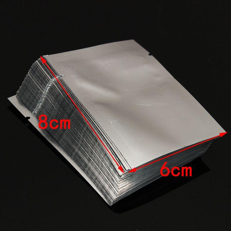 100pcs Vacuum Sealer Zipper Silver Aluminum Foil Mylar Bags Food Storage Pouches For Kitchen Tools