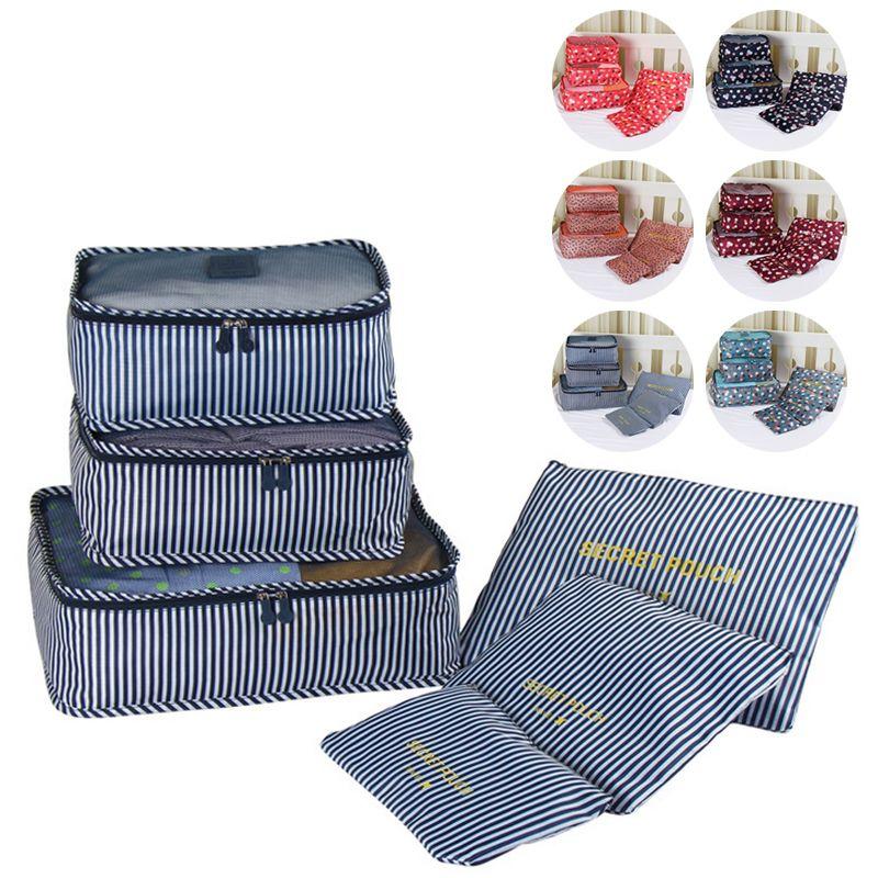 High Quality 6pcs/Set Cube Bra Underwear Luggage Baellerry Oxford Cloth Mesh Bag Organizer Packing Travel Bag Lingerie Organiser