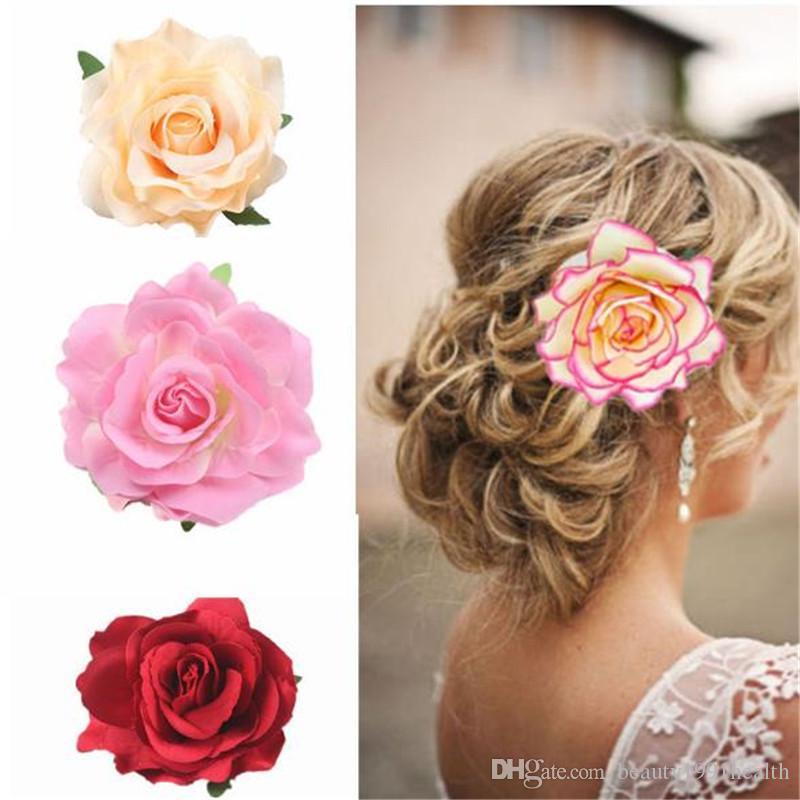 New Wedding Hairstyle Bridal Headwear Simulation Rose Flower Hairpin Brooch Party Bridesmaid Hair Clip Women Hair Band Accessories