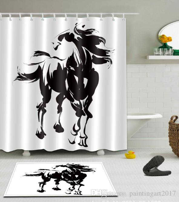 Bath Shower Curtains Abstract Black White Ink Horse Home Art Mildew-resistant Bathroom Decor Sets with Hooks Floor mats sets