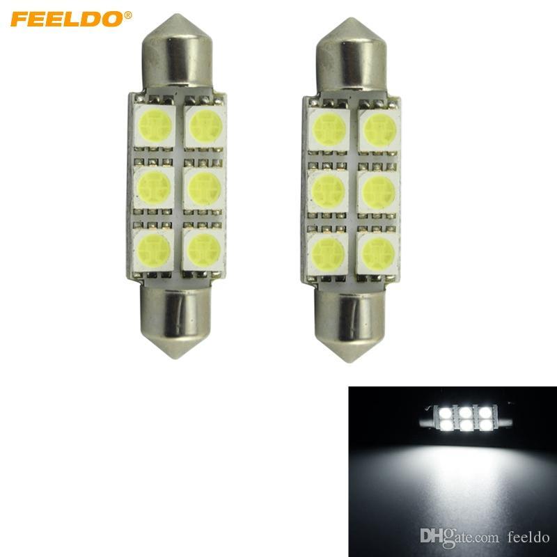 FEELDO 10 STÜCKE Weiß Auto Led-lampen 31mm 36mm 39mm 41mm 6-SMD 5050 Chip Festoon Dome Karte Cargo Car LED-Licht # 4817