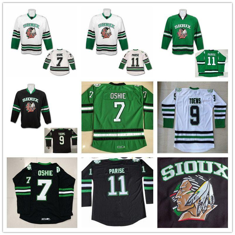 North Dakota Fighting Sioux 7 TJ Oshie 11 Zach Parise 9 Jonathan Toews leeres grünes schwarzes weißes Universitätsstitched College Hockey-Trikots