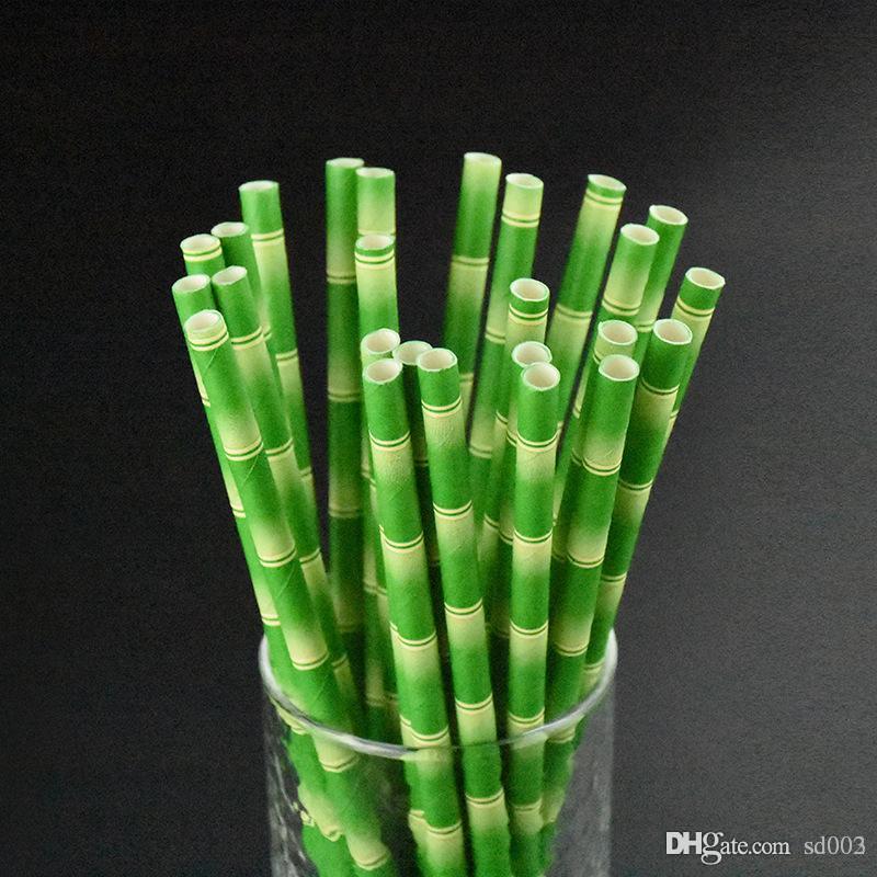 Einweg Bubble Tea Thick Bamboo Trinkpapier Strohhalme Für Bar Geburtstag Hochzeit Liefert Grün Heißer Verkauf 1 9nb dd