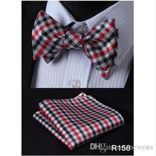 تحقق 100٪ الحرير الجاكار المنسوجة الرجال فراشة النفس القوس التعادل ربطة الجيب ساحة منديل المنديل البدلة مجموعة # RC2