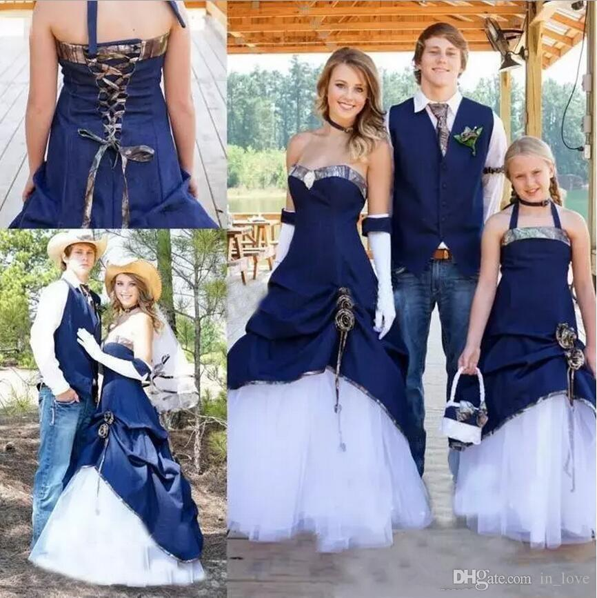Camo West Cowboy Style Wedding Dresses Strapless White and Navy Blue Long A Line Bridal Gowns for Outdoor Wedding Custom Plus Size