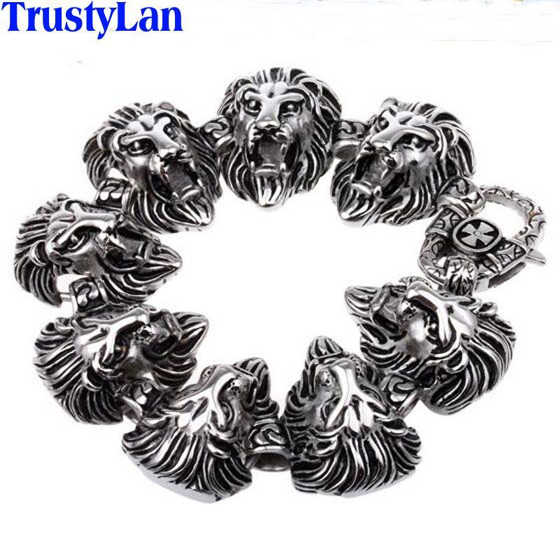 TrustyLan 동물 사자 머리 보석 액세서리 고딕 멋진 스테인레스 스틸 망 팔찌 Bangles 락 펑크 팔찌 Brazalet C18110201