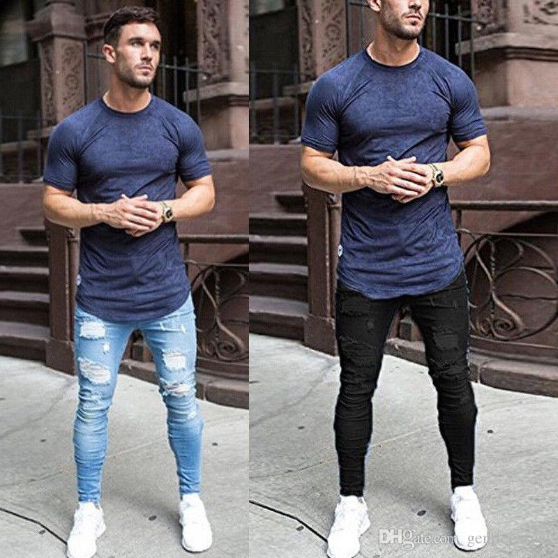 Summer Thin Jeans Men Clothing Ripped Blue Black Fashion Jean Pants Long Trousers Clothes