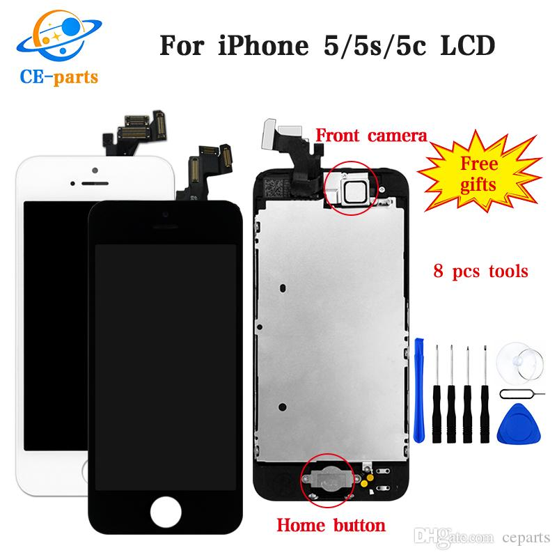 Hight quality LCD Display Touch Digitizer+Complete Screen+home button+camera Full Assembly Replacement for iPhone 5 5S 5C With DHL shipping