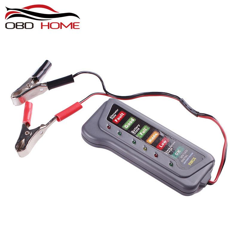 Motorcycles 1 x Tirol 12 V 15 A 6-LED Battery Display and Alternator Tester with 2 Clips for Cars Trucks