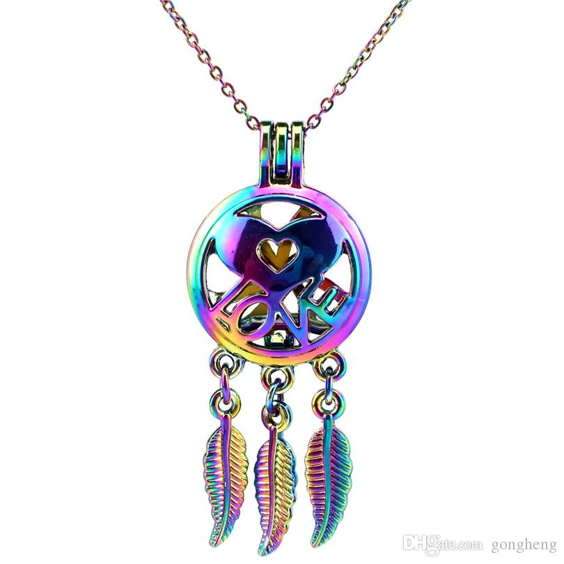 C727 Rainbow Color Beaty Dream Catcher Love Leaf Beads Cage Pendant Essential Oil Diffuser Aromatherapy Pearl Cage Locket Pendant Necklace