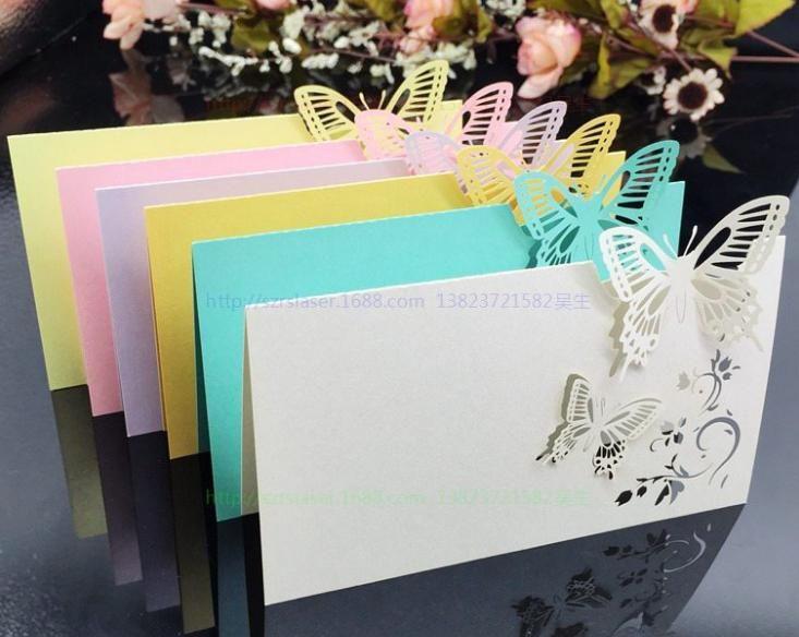 Carte découpée au laser de lieu de rendez-vous de carte de table de carte de nom de Guset de carte d'escorte de papillon creuse pour la partie