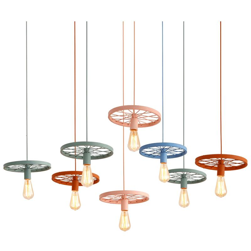 Vintage pendant lights colorful macaron hanging light metal colorful wheel droplight for kids room bedroom restaurant pendant lamps