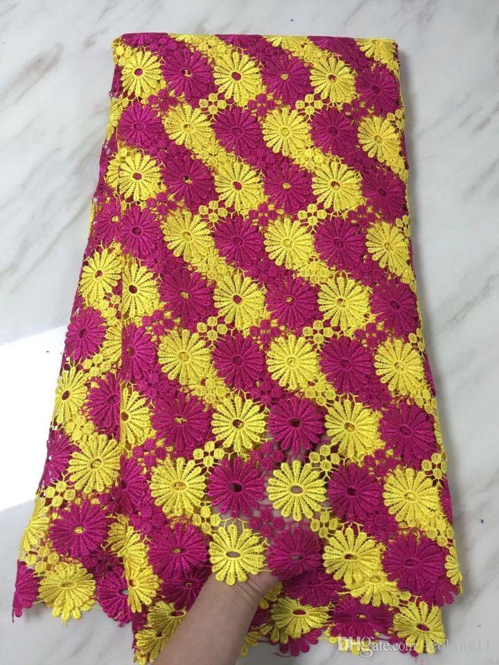 5 Yards/pc Beautiful yellow and fuchsia flower african water soluble lace embroidery french cord lace fabric for dress BW153-1