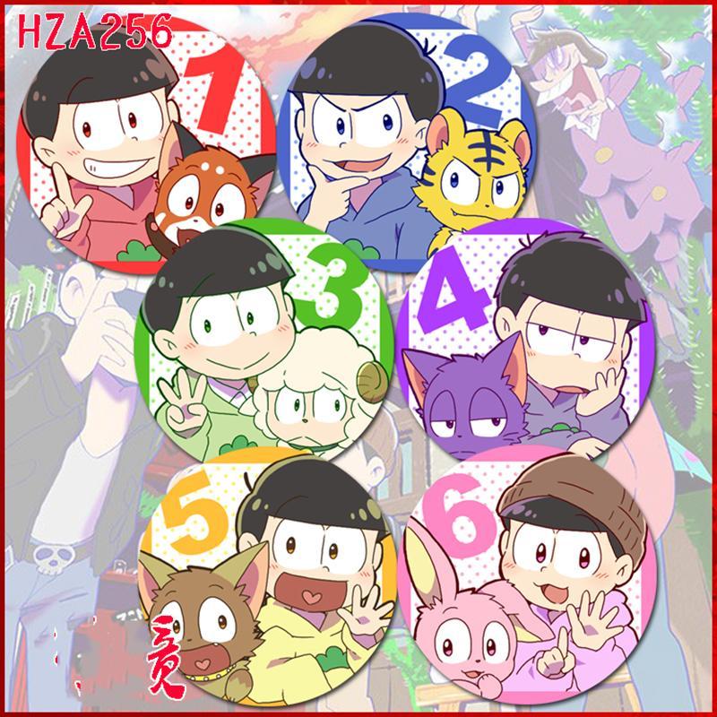6 unids / set Insignia de 58 MM Osomatsu San Matsuno Osomatsu Karamatsu Seis cara Mascotas Ichimatsu Mochila Pins Insignias Spilla Icons Brooch