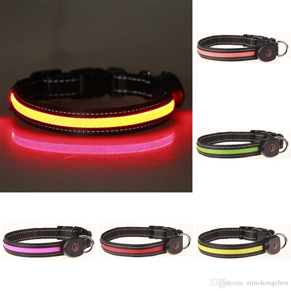 Puppy Dog Cat Night Safety Flashing LED Light Adjustable Pet Collar Tool