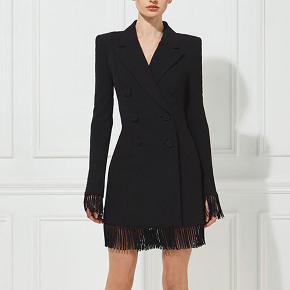 Adyce 2018 Nouveaux Femmes D'été Mince Trenchs Manteaux Noir Blanc Col En V À double boutonnage Manteaux À Manches Longues Tassel Fashion Club Manteaux S18101102