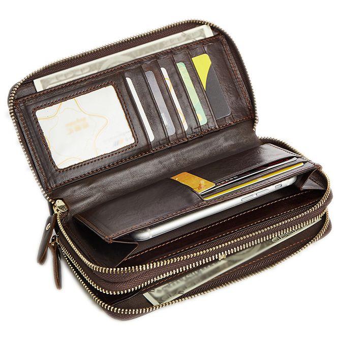 Dual Zipper Male Long Genuine Leather Wallet Money Clip Card Bifold Wallet Ticket Coin Photo Holder Pocket Business Men Clutch Bag Purse