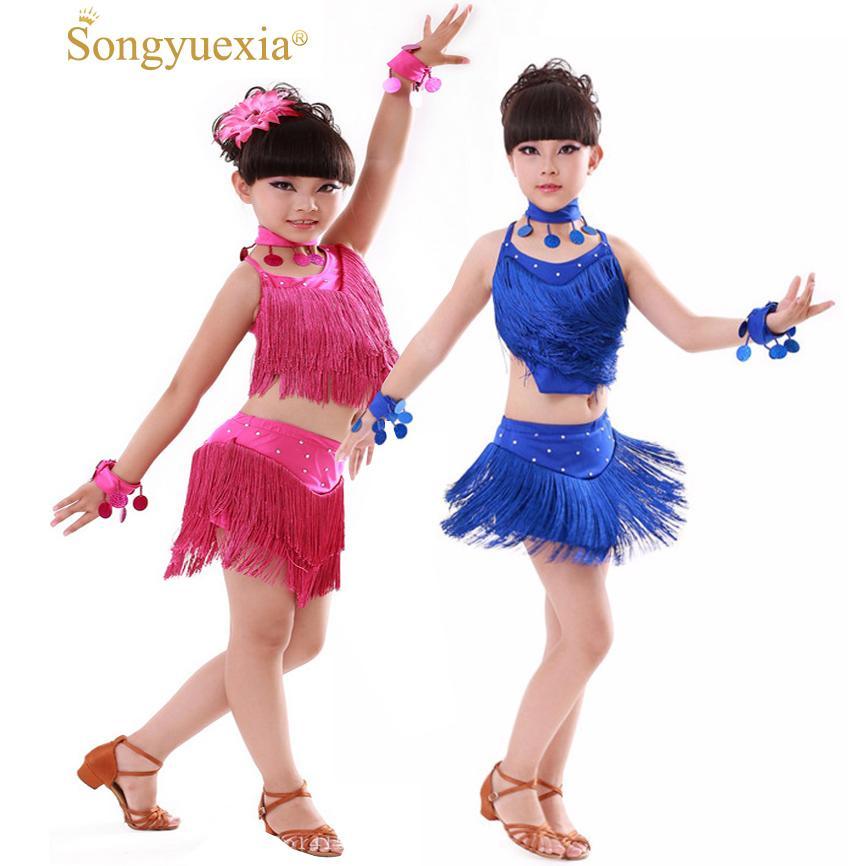 2019 Songyuexia Latin Tassel Ballroom Dance Dress Kids Girls Dancewear  Fringe Skirts Latin Stage Dance Costume Clothing Children From My09, $21.96