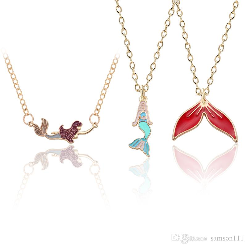 Diy Cartoon Mermaid Pendant Necklace Enamel Colorful Fish tail Necklaces Pendant Gold Animal Jewelry For Women Christmas Gifts Wholesale